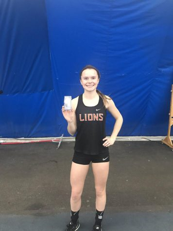Katelyn Reid becomes the second girl in school history to win an indoor Group title. (Photo courtesy of Twitter.)